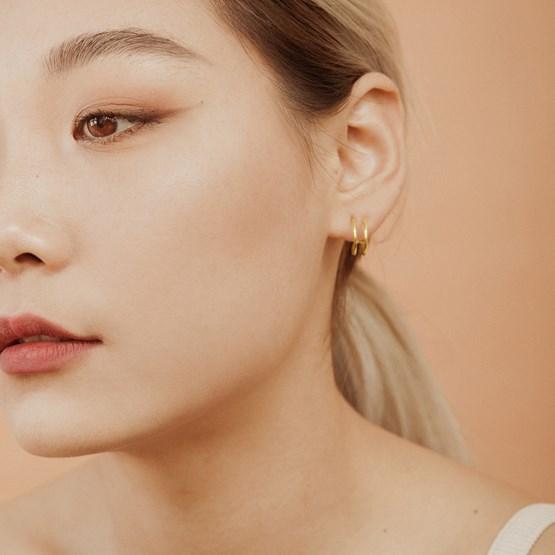 Double hoop gold plated earrings  - Design : ikonniko