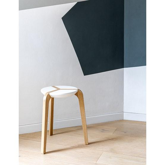 Tabouret empilable - Blanc - Design : Boulon Blanc