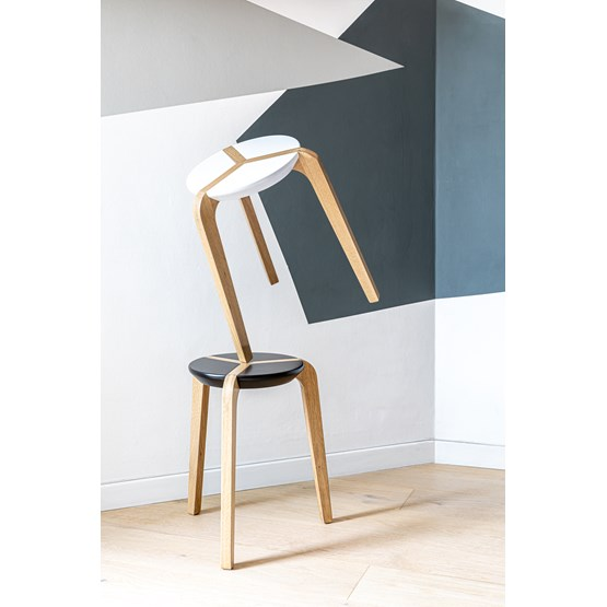 Tabouret empilable - Noir - Design : Boulon Blanc