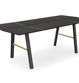 SAVIA dining table - Black wood / Gold details