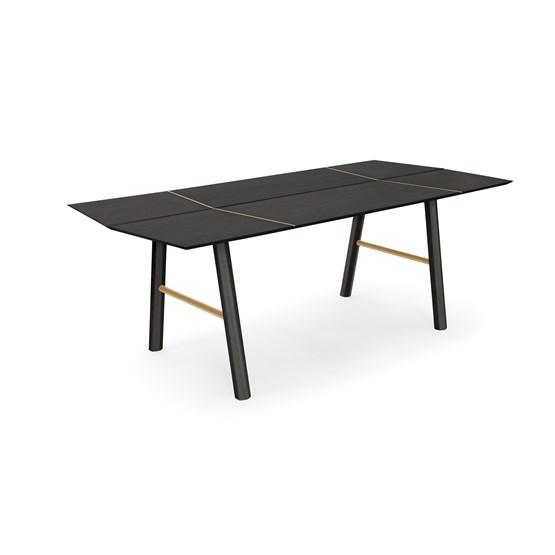 Table de salle à manger SAVIA  - Bois Noir / Détails doré - Design : WOODENDOT