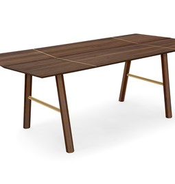 SAVIA dining table - Dark wood / Gold details
