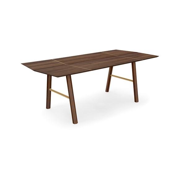 Table de salle à manger SAVIA  - Bois sombre / Détails doré - Design : WOODENDOT