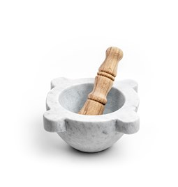 Mortier avec pilon - marbre blanc et bois
