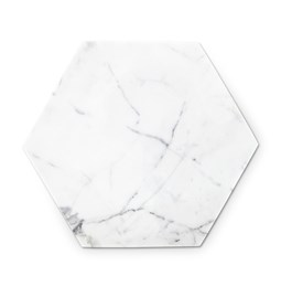 Hexagonal trivet - white marble and cork