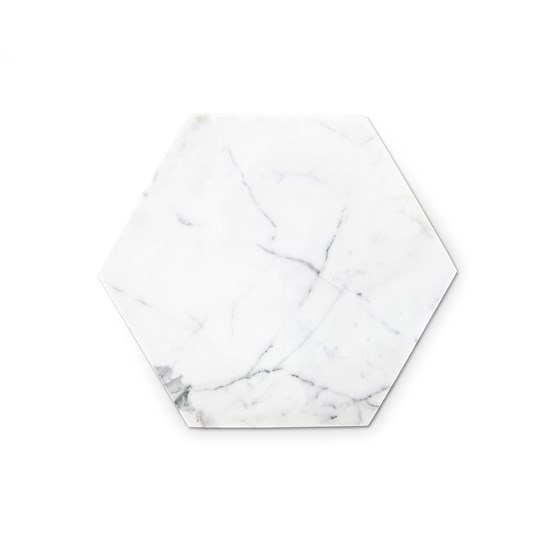 Hexagonal trivet - white marble and cork - Design : Fiammetta V