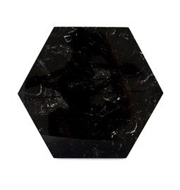 Hexagonal trivet - black marble and cork