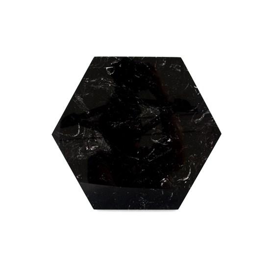Dessous de plat hexagonal - marbre noir et liège - Design : Fiammetta V