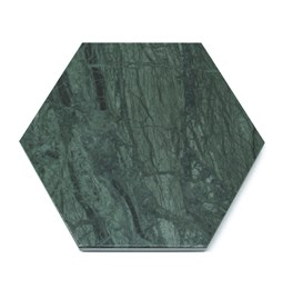 Hexagonal trivet - green marble and cork
