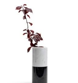 Vase cylindrique - marbre blanc et noir