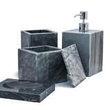 Squared soap dish - grey marble 3
