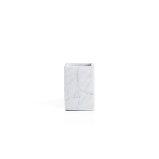 Squared toothbrush holder - white marble  - Design : Fiammetta V