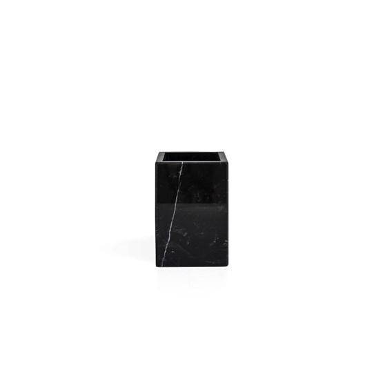 Squared toothbrush holder - black marble  - Design : Fiammetta V