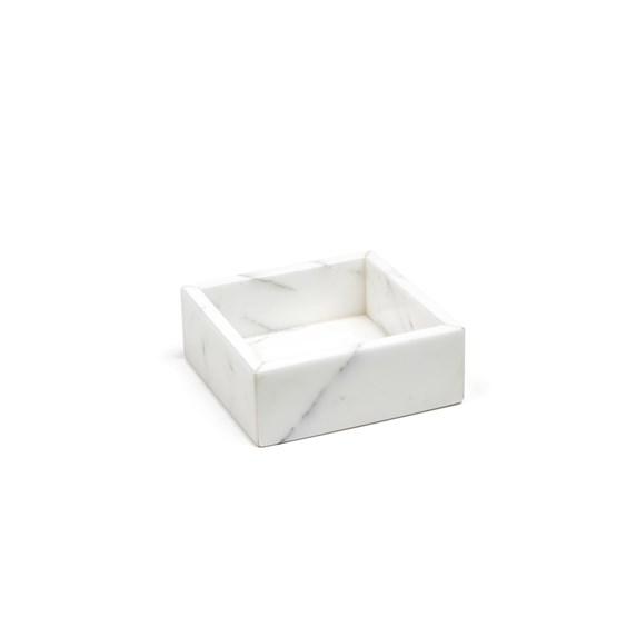 Boîte à coton - marbre blanc - Design : Fiammetta V