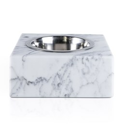 Squared bowl for dog/cat - white marble