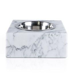 Bol carré pour chien/chat - marbre blanc