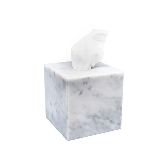 Boite à mouchoirs carré - Marbre blanc - Design : Fiammetta V