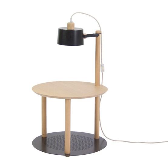 Petite table ronde & lampe by charlotte - Noir - Design : Dizy