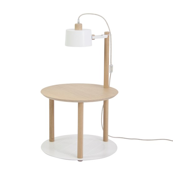 Petite table ronde & lampe by charlotte - Blanc - Design : Dizy