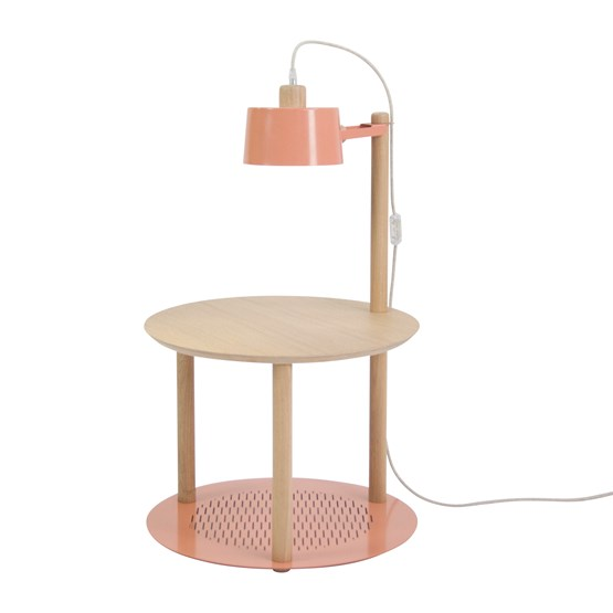 Petite table ronde & lampe by charlotte - Powder pink - Design : Dizy