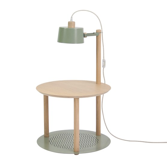 Petite table ronde & lampe by charlotte - Grey green - Design : Dizy