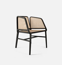 BEE lounge chair | ash lacquered black and rattan