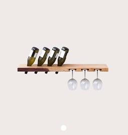MODEL B wine and glass rack - one piece oak wood