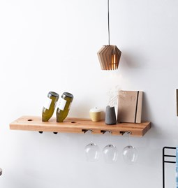 MODEL B wine and glass rack - one piece pear wood