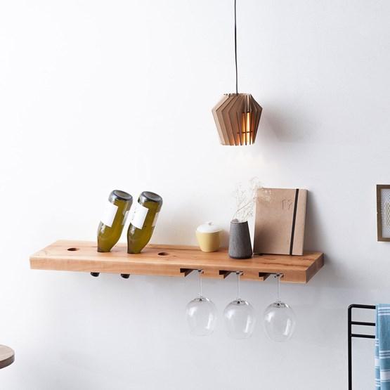 MODEL B wine and glass rack - one piece pear wood - Design : TU LAS