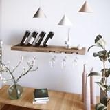 MODEL B wine and glass rack - one piece walnut wood 5