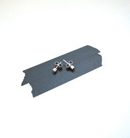 Cylindrical silver earrings