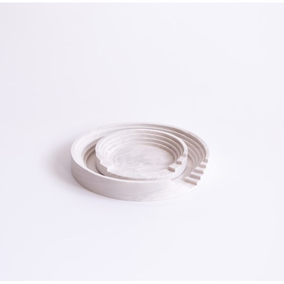 Marble finish round tray set Scala - White marble - Design : Extra&ordinary Design