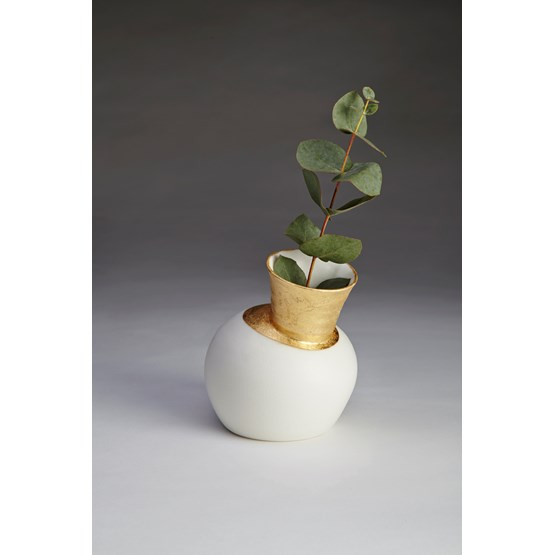 Vase Speak - blanc et dorure - Design : Jo Davies
