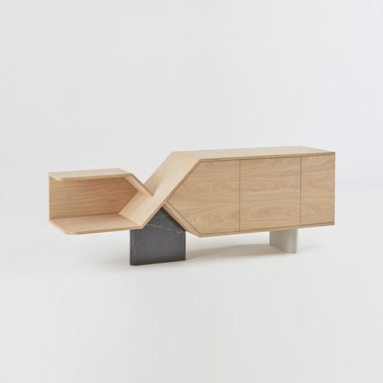 CHROMOSOME sideboard - NERO MARQUINA marble - Design : Hetch