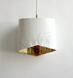 Scaled portable lamp - white & gold