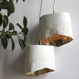 Scaled portable lamp - white & gold 2