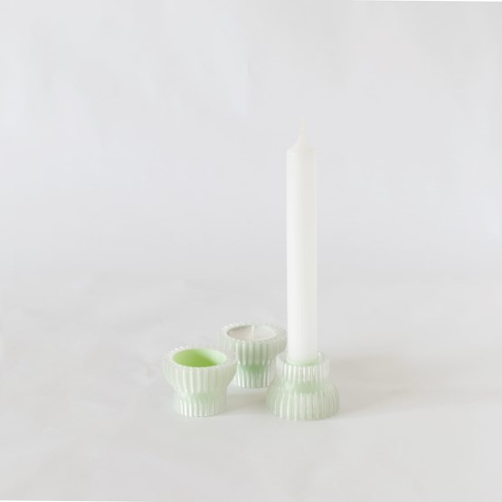 Double candle holders 2.20 - mint green - Design : Warren & Laetitia