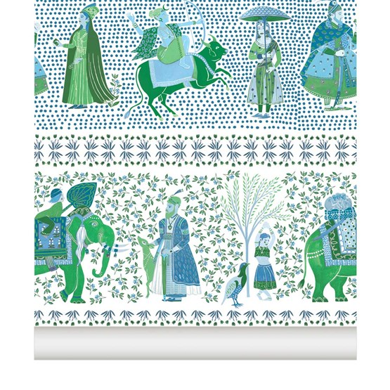 Wallpaper Chalana - emerald - Design : Little Cabari