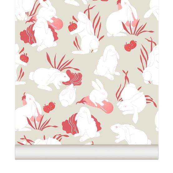 Wallpaper Haru - raspberry - Design : Little Cabari
