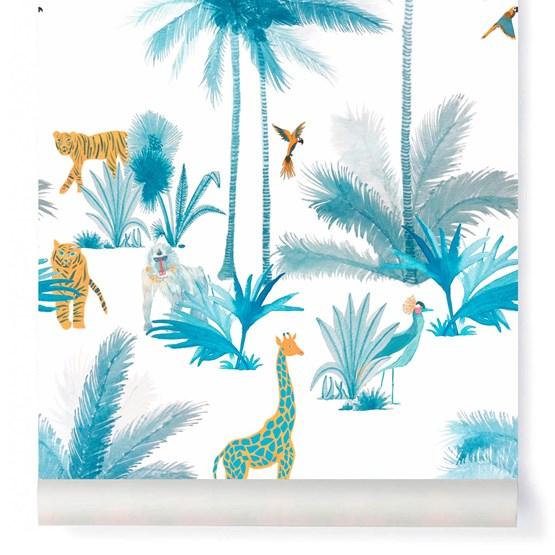 Wallpaper Grand Tamtam - Turquoise - Design : Little Cabari