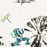 Papier-peint Grenouilles sur un nénuphar - vert 5