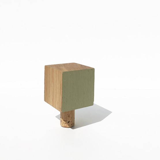 MON PETIT BOUCHON for wine bottles - wood and GREY GREEN - Design : the designer trotter