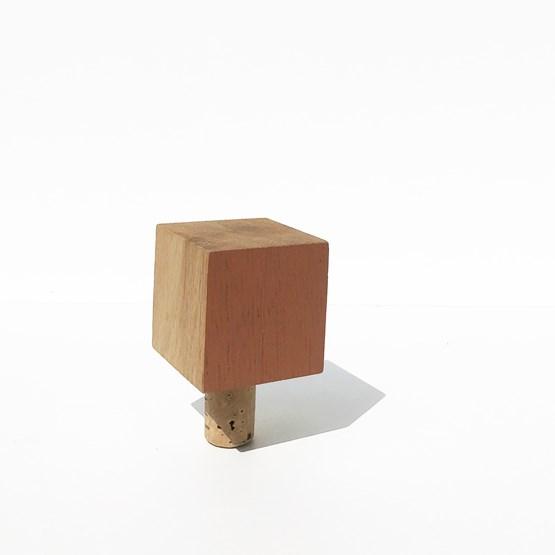 MY SMALL BOTTLE CAP for wine bottle - wood and VELVET OCRE - Design : the designer trotter