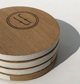 ENTRE AMIS coaster - wood and WHITE