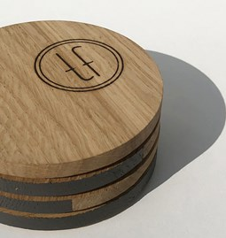 ENTRE AMIS coaster - wood and ASHT GREY