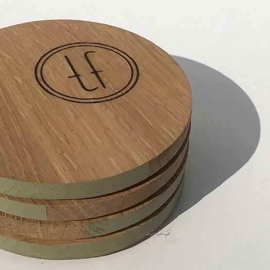 ENTRE AMIS coaster - wood and GREEN GREY - Design : the designer trotter