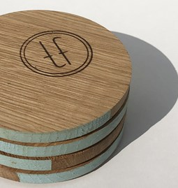 ENTRE AMIS coaster - wood and BLUE