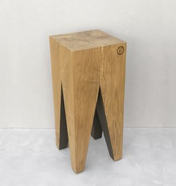 Bar stool LES COULEURS DE L'AUTOMNE - wood natural oak and GREY