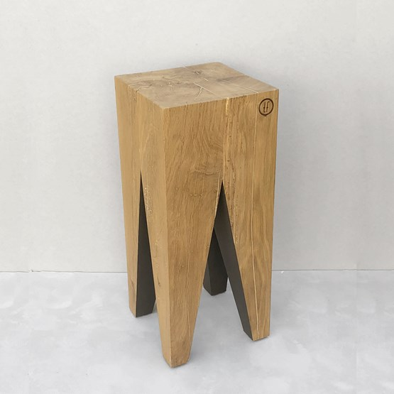 Bar stool LES COULEURS DE L'AUTOMNE - wood natural oak and GREY - Design : the designer trotter
