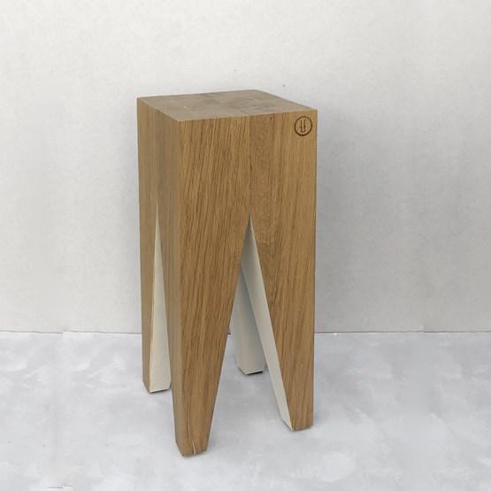 Bar stool LES COULEURS DE L'AUTOMNE - wood natural oak and WHITE - Design : the designer trotter